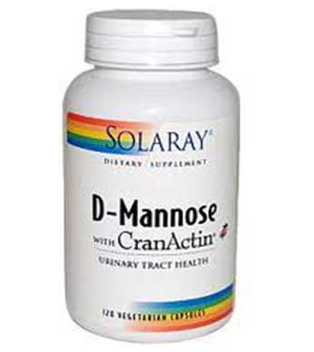 Solaray D-Mannose with Cran-Actin 120 Capsules - By Pumpernickel Online an Natural and Dietary Supplements Store Bedford UK